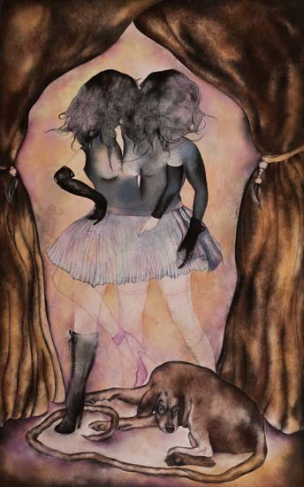 Black Orpheus, charcoal and pastel on paper, 70in x 44in, 2010