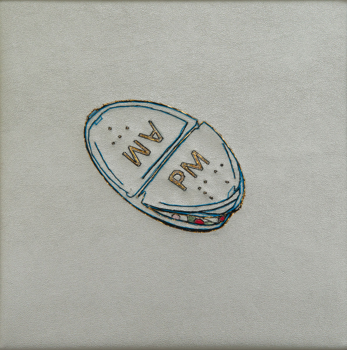 A.M./P.M., hand stitching on silver vinyl, 8in x 8in