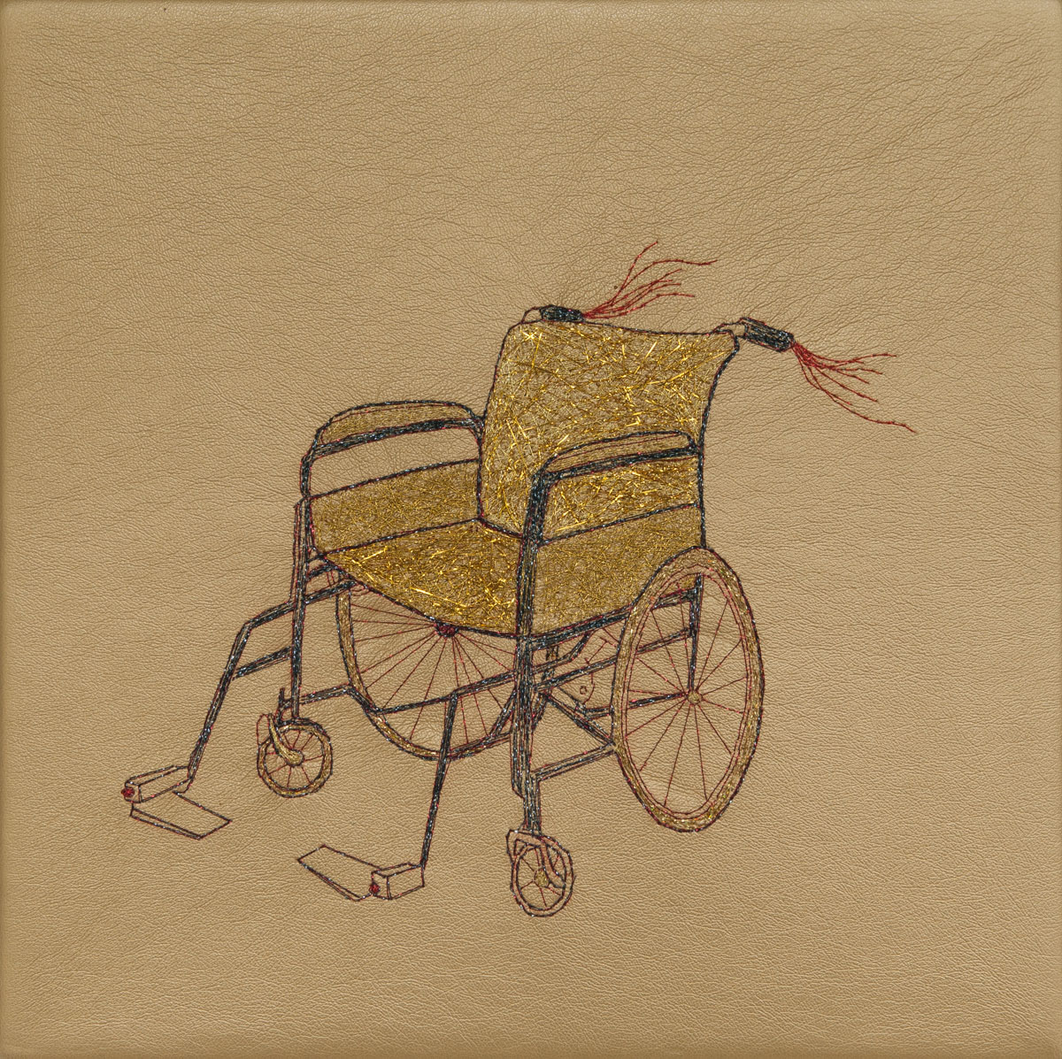 Chariot, hand stitching on gold vinyl, 10in, x 10in, 2013