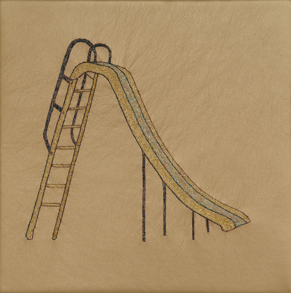 Slide, hand stitching on gold vinyl, 10in x 10in, 2013