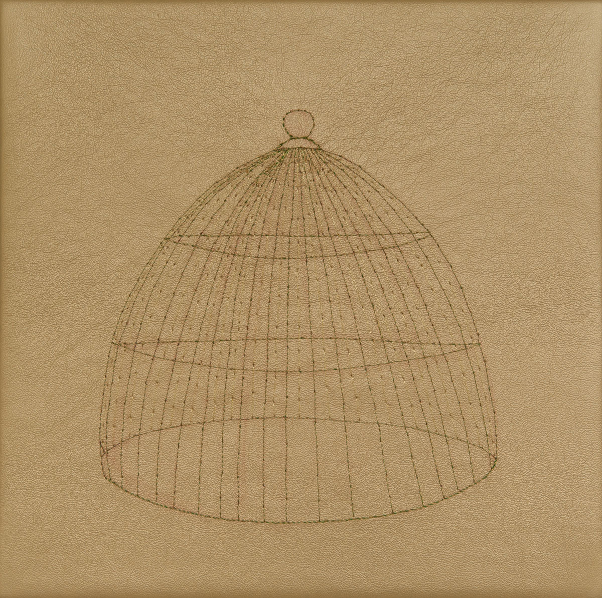 Bird Cage, hand stitching on gold vinyl, 10in x 10in, 2013