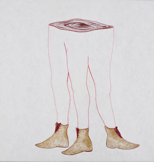 Golden Booties, hand stitching on felt, 33in x 33in, 2009
