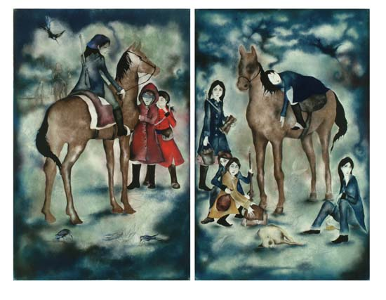 Sleepless Nights - Ode to Murakami, charcoal and pastel on paper, diptych, each panel measuring 85in x 57in, 2006