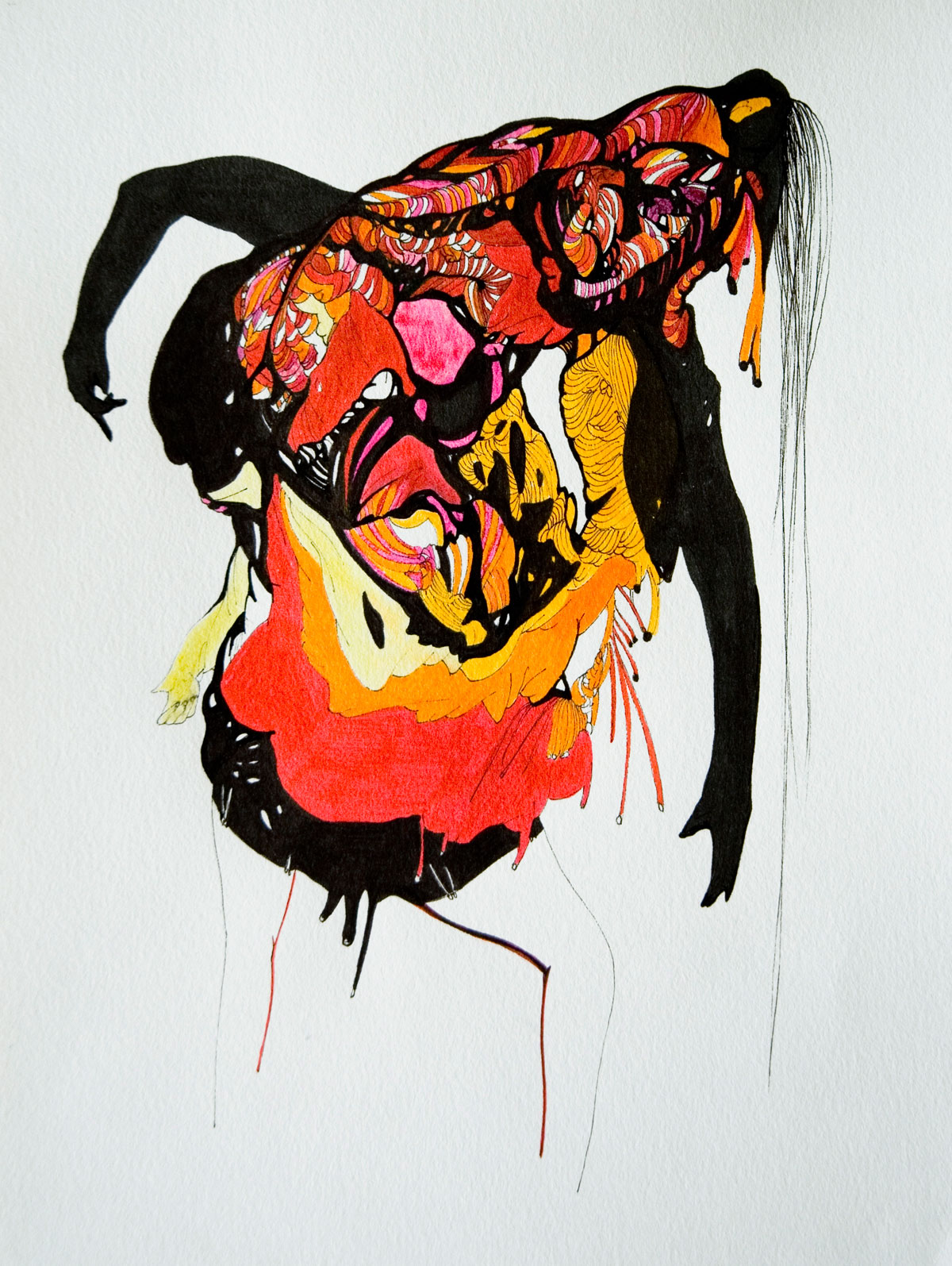 Monstra no. 6, ink and marker on paper, 7in x 5in, 2014