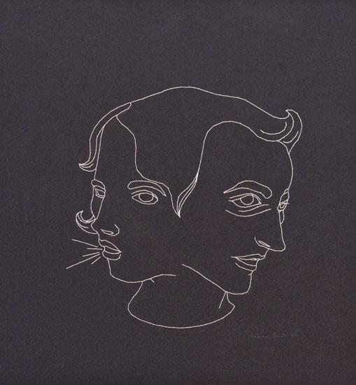 Talk Talk, hand stitching on felt, 15in x 15in, 2009