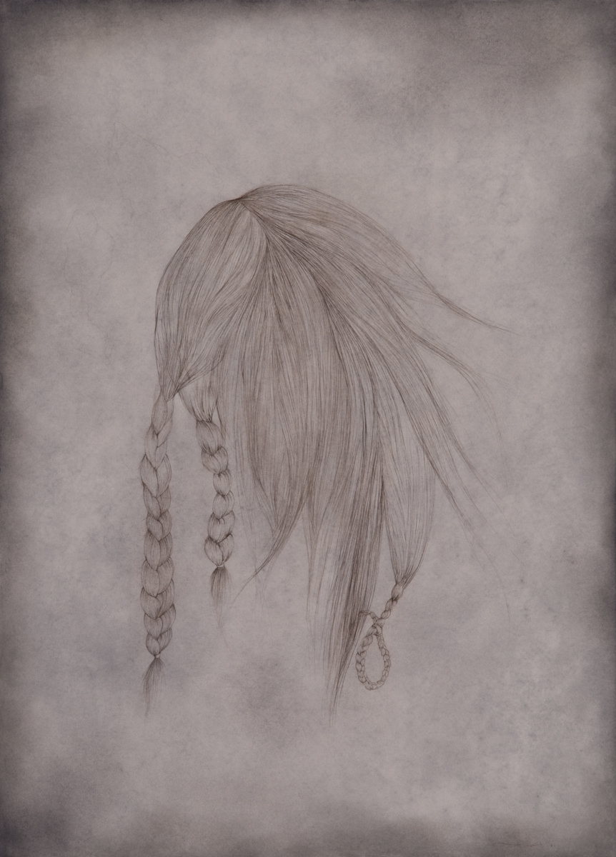 Triple Braids - grey - charcoal, pastel and colored pencil on paper, 30.5in x 22in, 2011